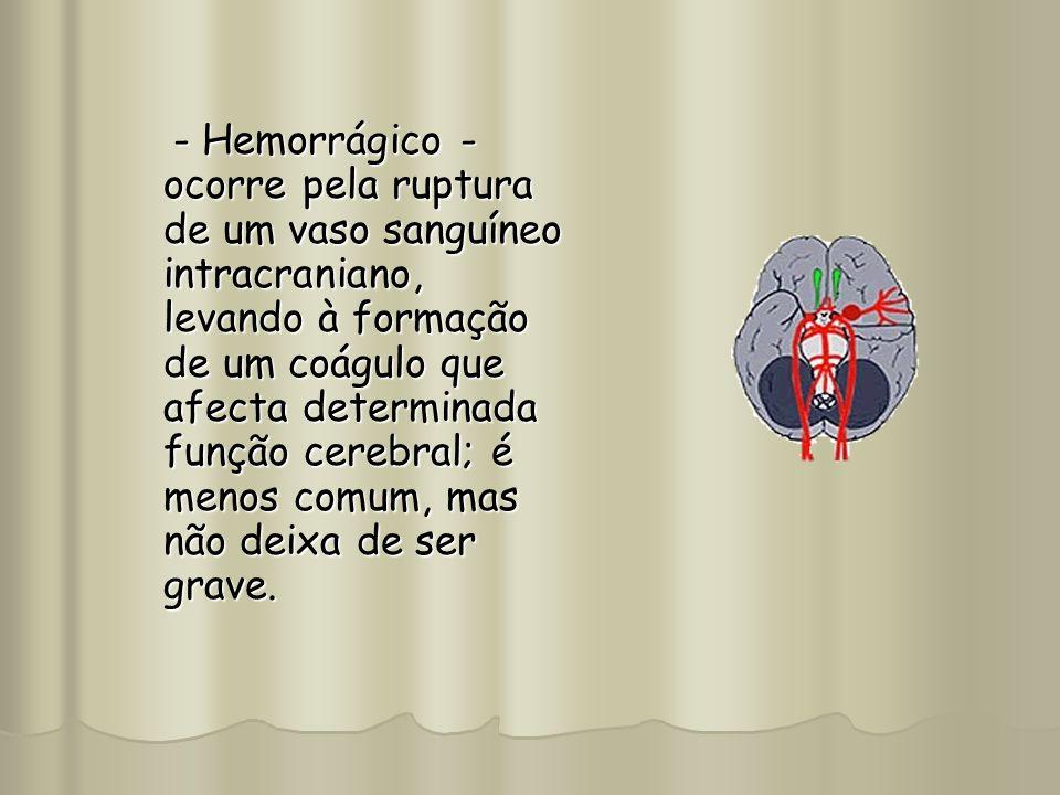 - Hemorrágico - ocorre pela ruptura de um vaso sanguíneo intracraniano, levando à formação de um coágulo que afecta determinada função cerebral; é men
