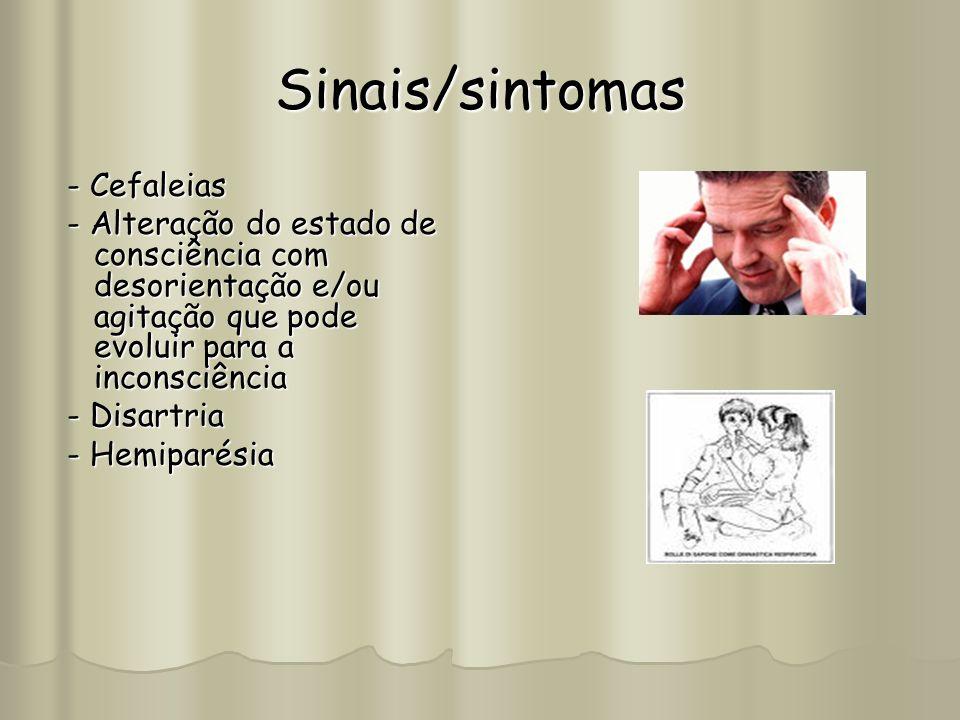 Sinais/sintomas - Cefaleias - Cefaleias - Alteração do estado de consciência com desorientação e/ou agitação que pode evoluir para a inconsciência - A