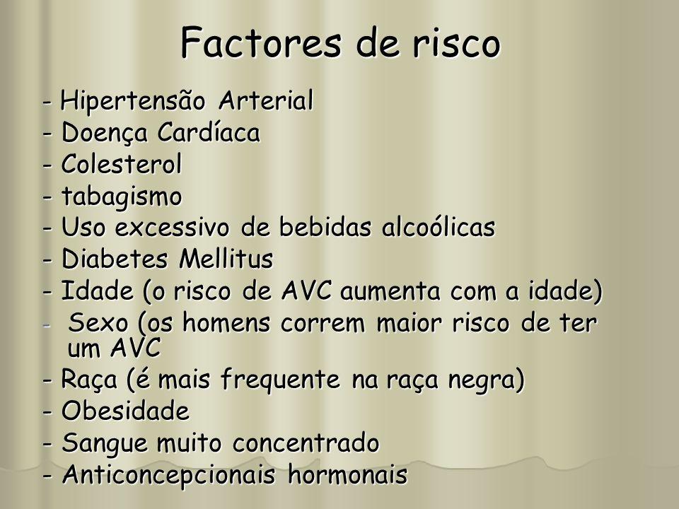 Factores de risco - Hipertensão Arterial - Doença Cardíaca - Colesterol - tabagismo - Uso excessivo de bebidas alcoólicas - Diabetes Mellitus - Idade