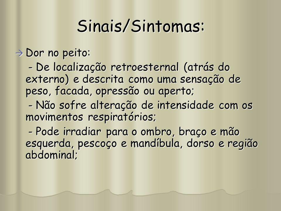 Sinais/Sintomas: Dor no peito: Dor no peito: - De localização retroesternal (atrás do externo) e descrita como uma sensação de peso, facada, opressão