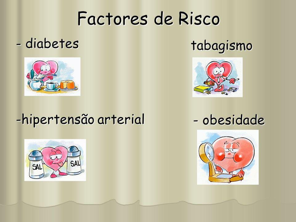 Factores de Risco - diabetes -hipertensão arterial tabagismo - obesidade