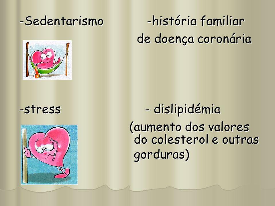 -Sedentarismo -história familiar de doença coronária de doença coronária -stress - dislipidémia (aumento dos valores (aumento dos valores do colestero