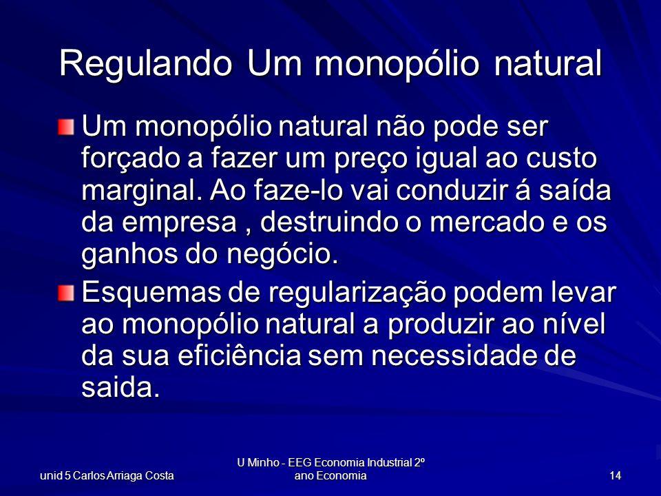 unid 5 Carlos Arriaga Costa U Minho - EEG Economia Industrial 2º ano Economia 14 Regulando Um monopólio natural Um monopólio natural não pode ser forç