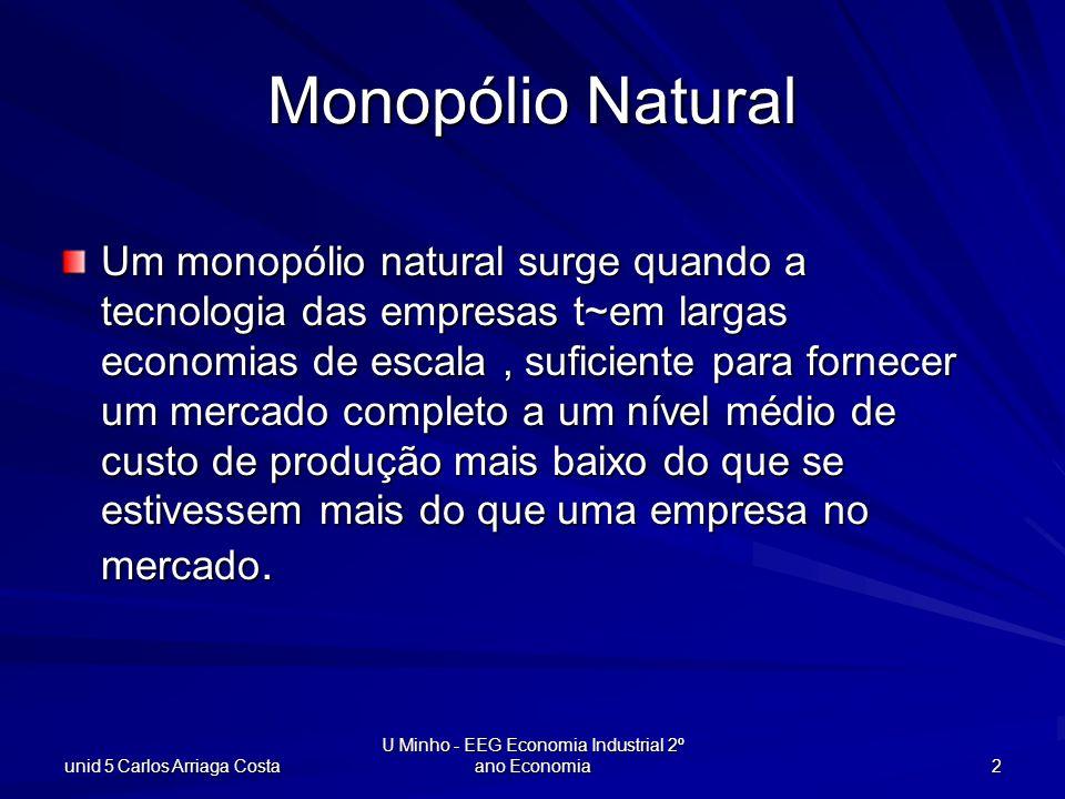 unid 5 Carlos Arriaga Costa U Minho - EEG Economia Industrial 2º ano Economia 13 q $/unid prod CTM(q) Cm(q) p(q) q* Rm(q) p(q*) p(q e ) qeqe Max-lucro: rm(q) = Cm(q) Eficiência: p = Cm(q) DWL Ineficiência d eum monopólio natural