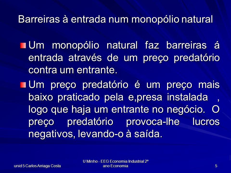 unid 5 Carlos Arriaga Costa U Minho - EEG Economia Industrial 2º ano Economia 16 q $/unid prod CTM(q) Cm(q) p(q) Rm(q) p(q e ) qeqe Regulando o monopólio natural NO nível de prod eficiente q e, CTM(q e ) > p(q e ) e a empresa tem Prejuízo.