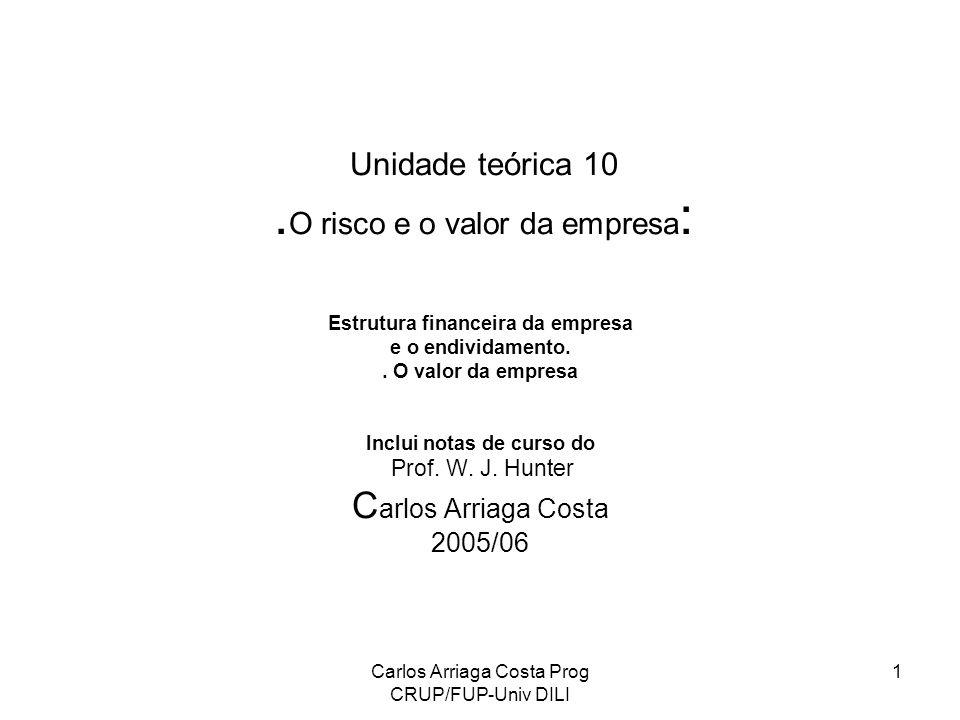 Carlos Arriaga Costa Prog CRUP/FUP-Univ DILI 1 Unidade teórica 10. O risco e o valor da empresa : Estrutura financeira da empresa e o endividamento..