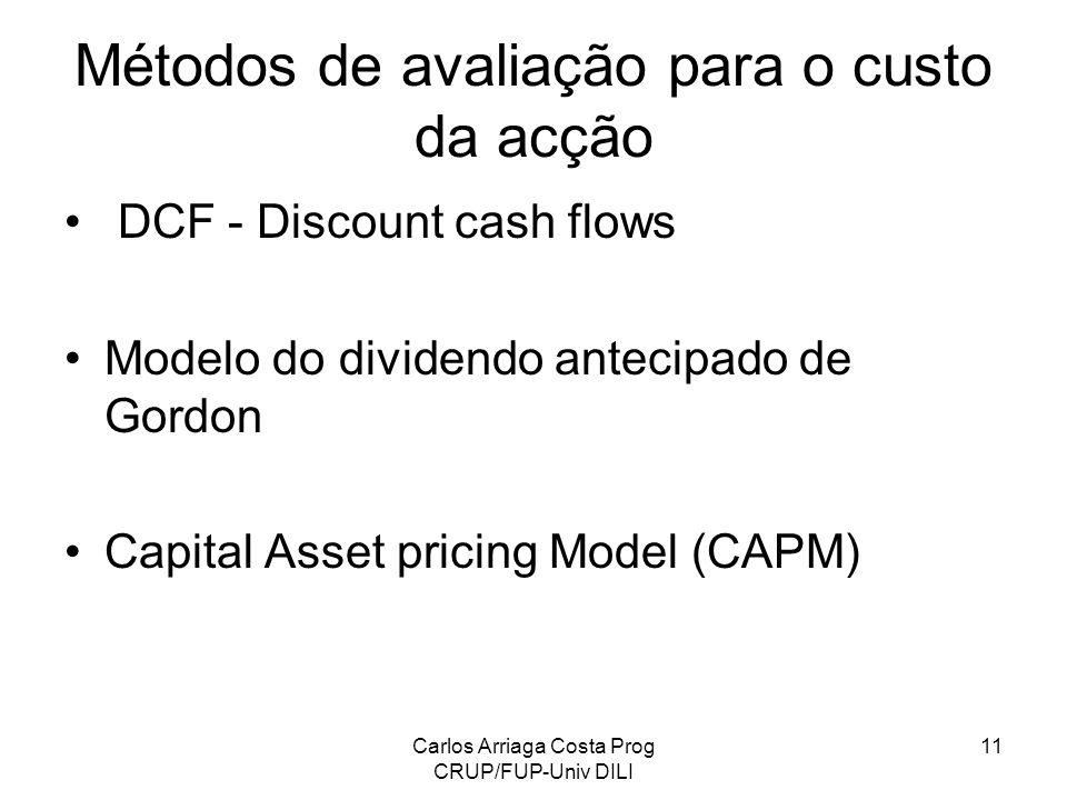 Carlos Arriaga Costa Prog CRUP/FUP-Univ DILI 11 Métodos de avaliação para o custo da acção DCF - Discount cash flows Modelo do dividendo antecipado de