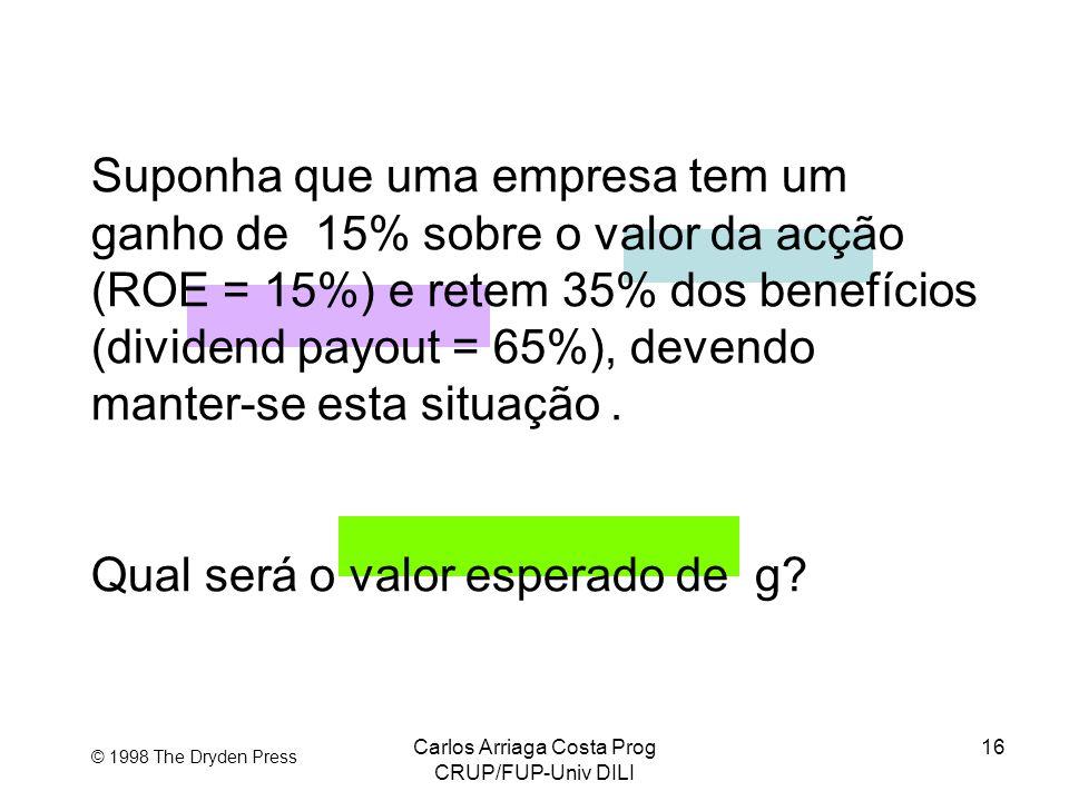Carlos Arriaga Costa Prog CRUP/FUP-Univ DILI 16 © 1998 The Dryden Press Suponha que uma empresa tem um ganho de 15% sobre o valor da acção (ROE = 15%)