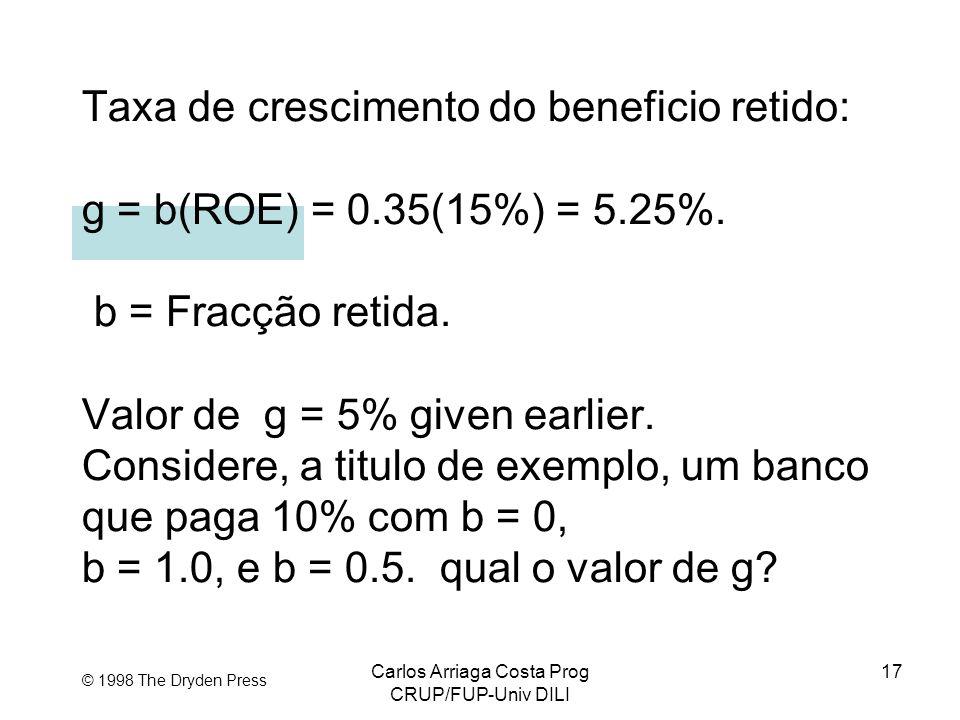 Carlos Arriaga Costa Prog CRUP/FUP-Univ DILI 17 © 1998 The Dryden Press Taxa de crescimento do beneficio retido: g = b(ROE) = 0.35(15%) = 5.25%. b = F