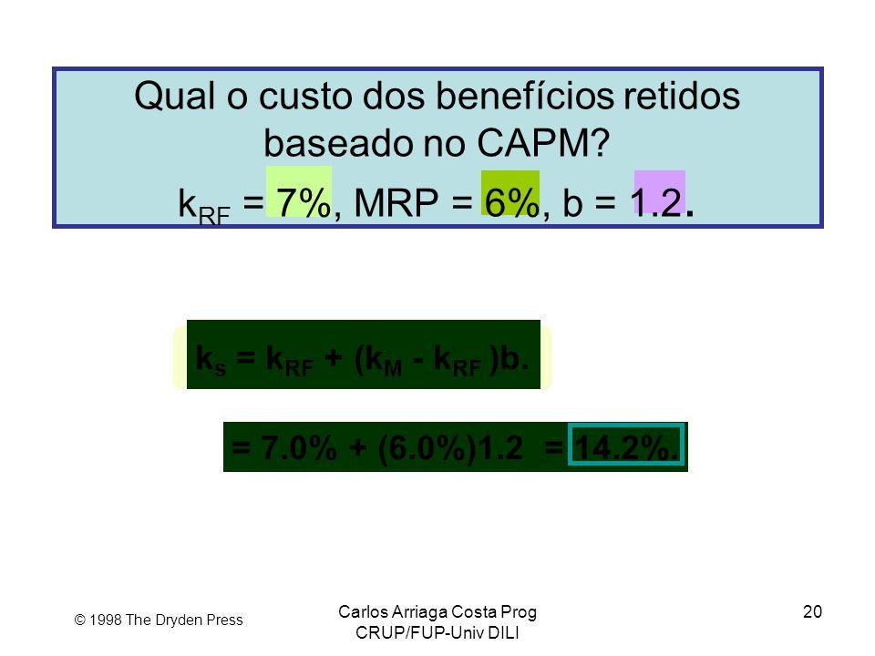 Carlos Arriaga Costa Prog CRUP/FUP-Univ DILI 20 © 1998 The Dryden Press Qual o custo dos benefícios retidos baseado no CAPM? k RF = 7%, MRP = 6%, b =