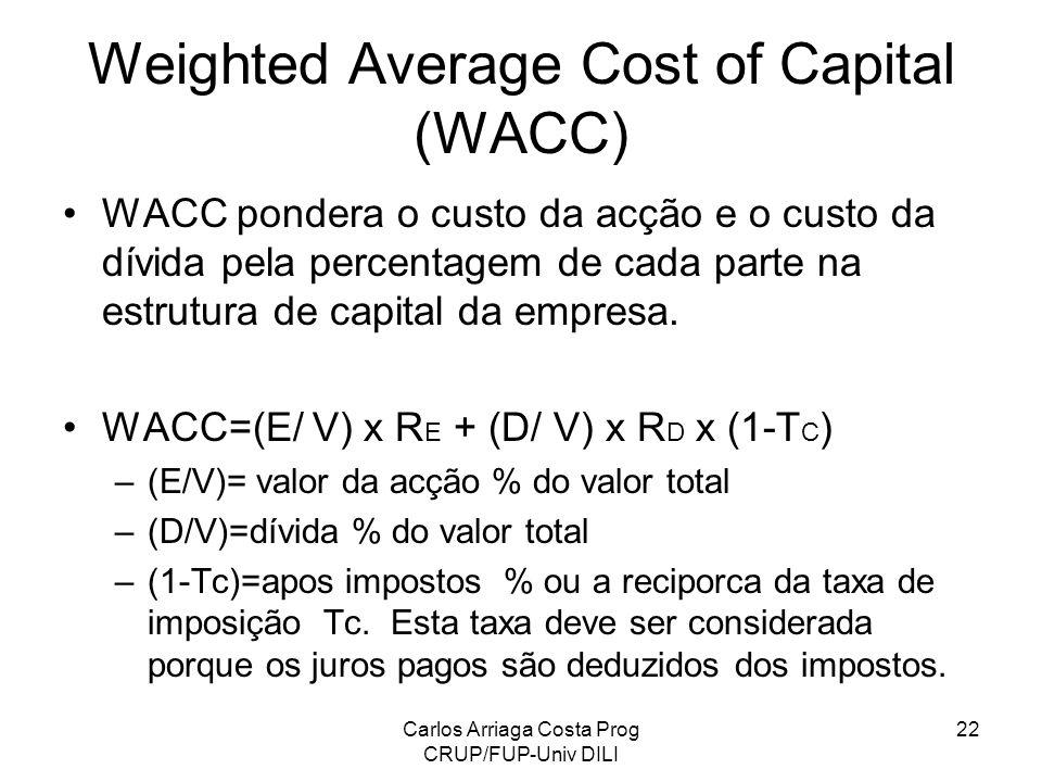 Carlos Arriaga Costa Prog CRUP/FUP-Univ DILI 22 Weighted Average Cost of Capital (WACC) WACC pondera o custo da acção e o custo da dívida pela percent