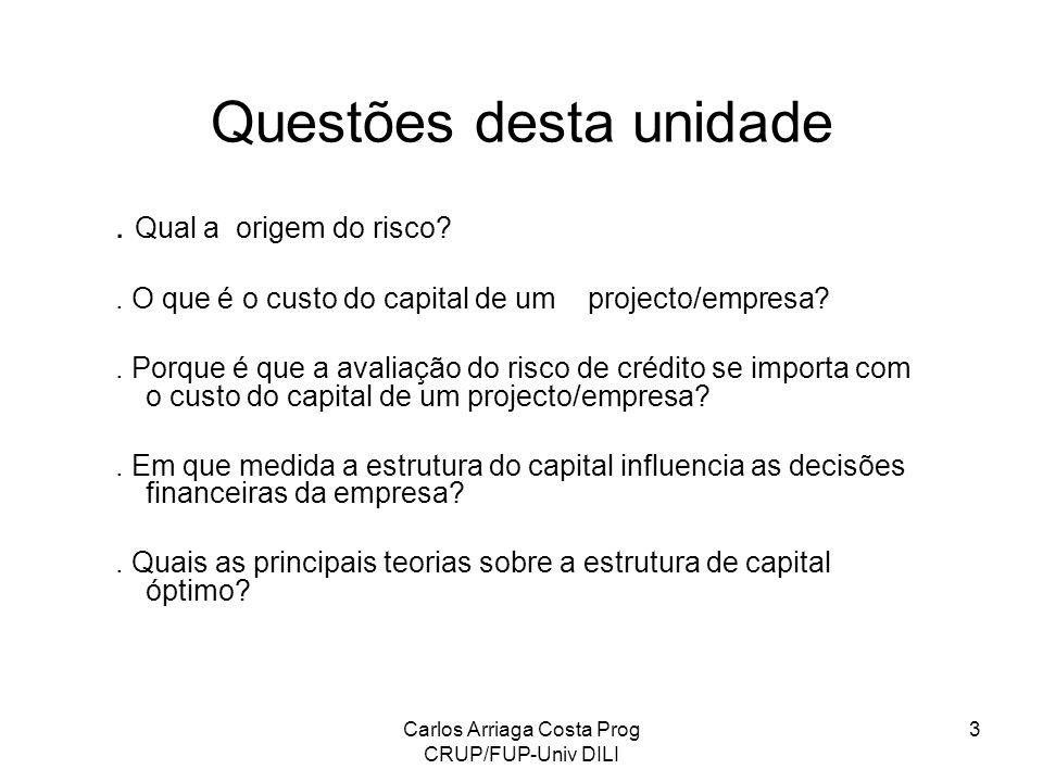 Carlos Arriaga Costa Prog CRUP/FUP-Univ DILI 3 Questões desta unidade. Qual a origem do risco?. O que é o custo do capital de um projecto/empresa?. Po
