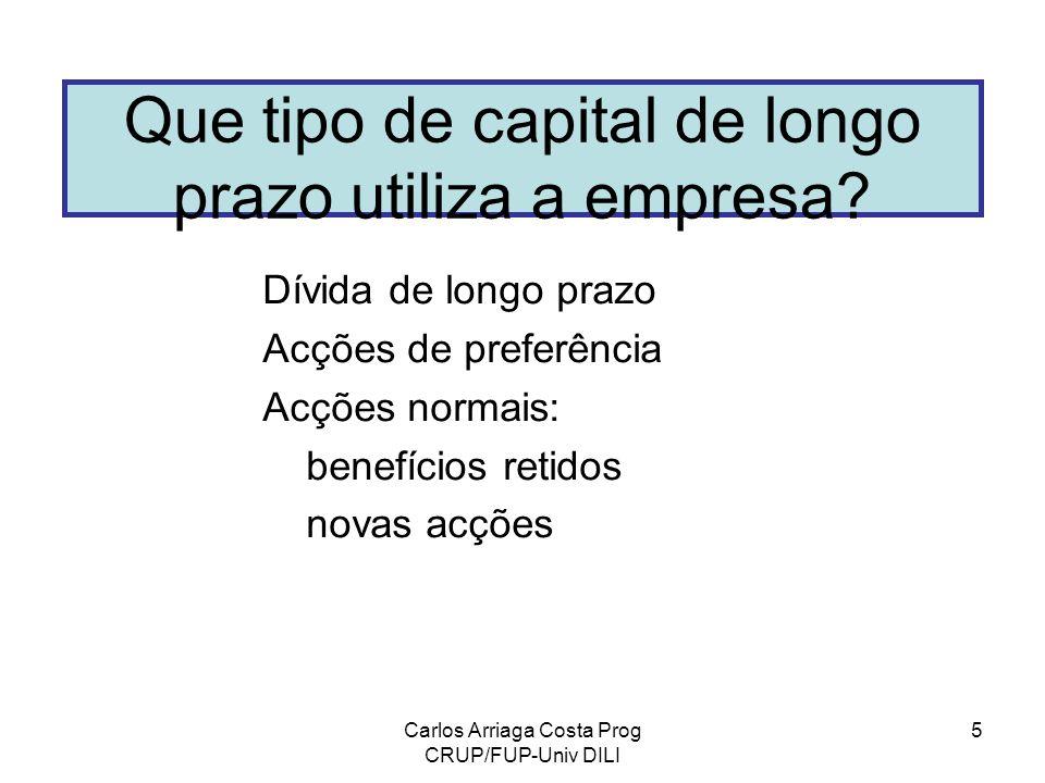 Carlos Arriaga Costa Prog CRUP/FUP-Univ DILI 5 Que tipo de capital de longo prazo utiliza a empresa? Dívida de longo prazo Acções de preferência Acçõe