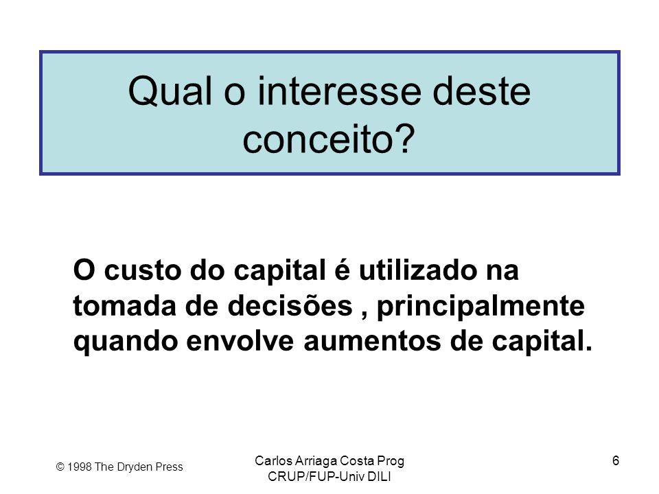 Carlos Arriaga Costa Prog CRUP/FUP-Univ DILI 6 © 1998 The Dryden Press Qual o interesse deste conceito? O custo do capital é utilizado na tomada de de