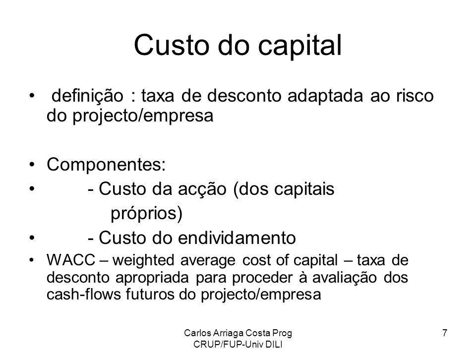 Carlos Arriaga Costa Prog CRUP/FUP-Univ DILI 7 Custo do capital definição : taxa de desconto adaptada ao risco do projecto/empresa Componentes: - Cust