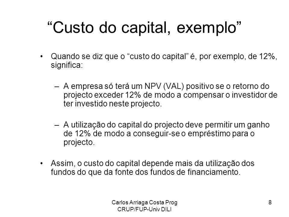 Carlos Arriaga Costa Prog CRUP/FUP-Univ DILI 8 Custo do capital, exemplo Quando se diz que o custo do capital é, por exemplo, de 12%, significa: –A em