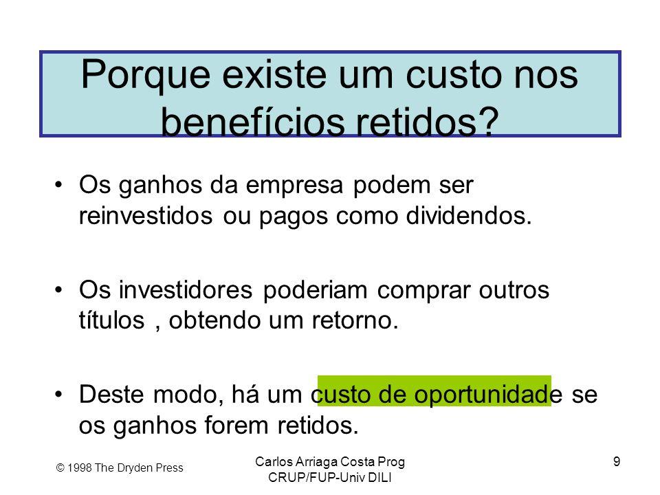Carlos Arriaga Costa Prog CRUP/FUP-Univ DILI 9 © 1998 The Dryden Press Porque existe um custo nos benefícios retidos? Os ganhos da empresa podem ser r