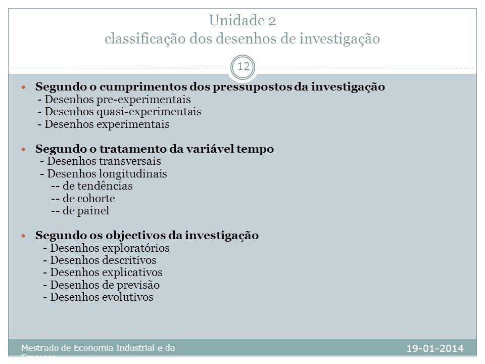 Unidade 2 classificação dos desenhos de investigação 19-01-2014 Mestrado de Economia Industrial e da Empresa 12 Segundo o cumprimentos dos pressuposto