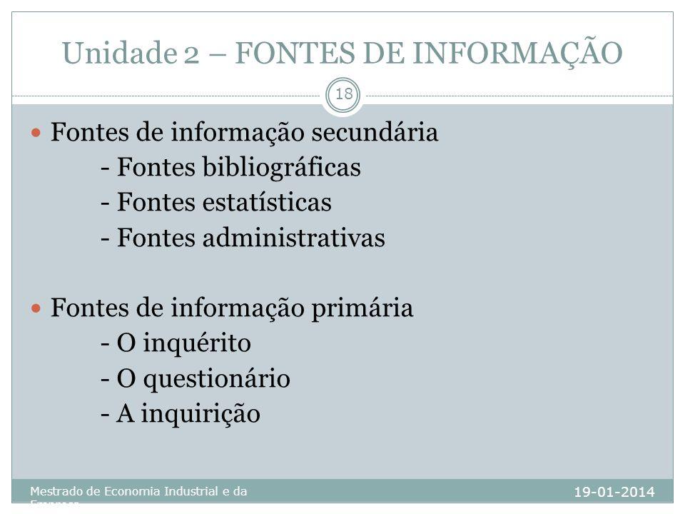 Unidade 2 – FONTES DE INFORMAÇÃO 19-01-2014 Mestrado de Economia Industrial e da Empresa 18 Fontes de informação secundária - Fontes bibliográficas -
