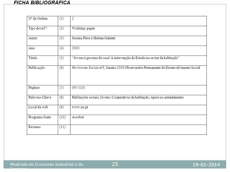 19-01-2014 Mestrado de Economia Industrial e da Empresa 25 Nº de Ordem(1)2 Tipo de ref.ª(2)Working- paper Autor(3)Susana Pires e Helena Galante Ano(4)