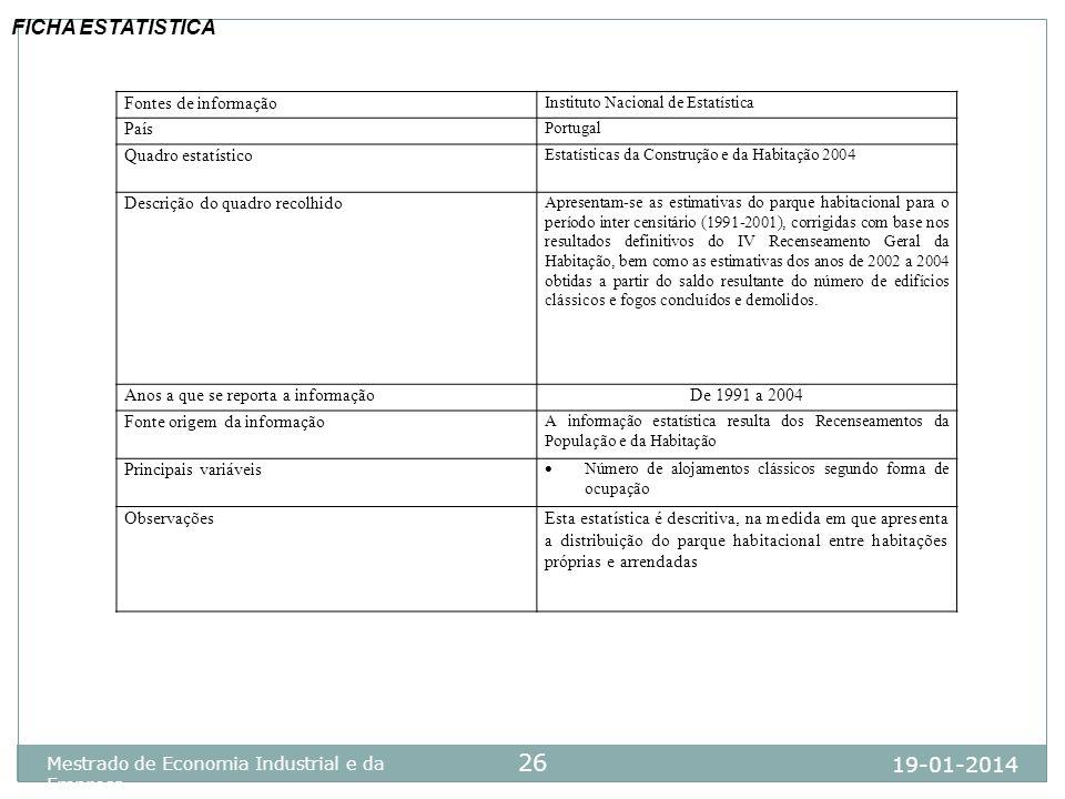 19-01-2014 Mestrado de Economia Industrial e da Empresa 26 Fontes de informação Instituto Nacional de Estatística País Portugal Quadro estatístico Est