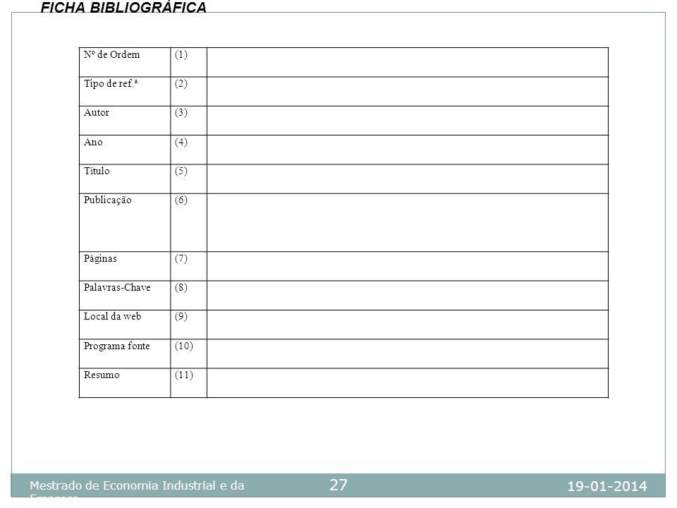 19-01-2014 Mestrado de Economia Industrial e da Empresa 27 Nº de Ordem(1) Tipo de ref.ª(2) Autor(3) Ano(4) Título(5) Publicação(6) Páginas(7) Palavras
