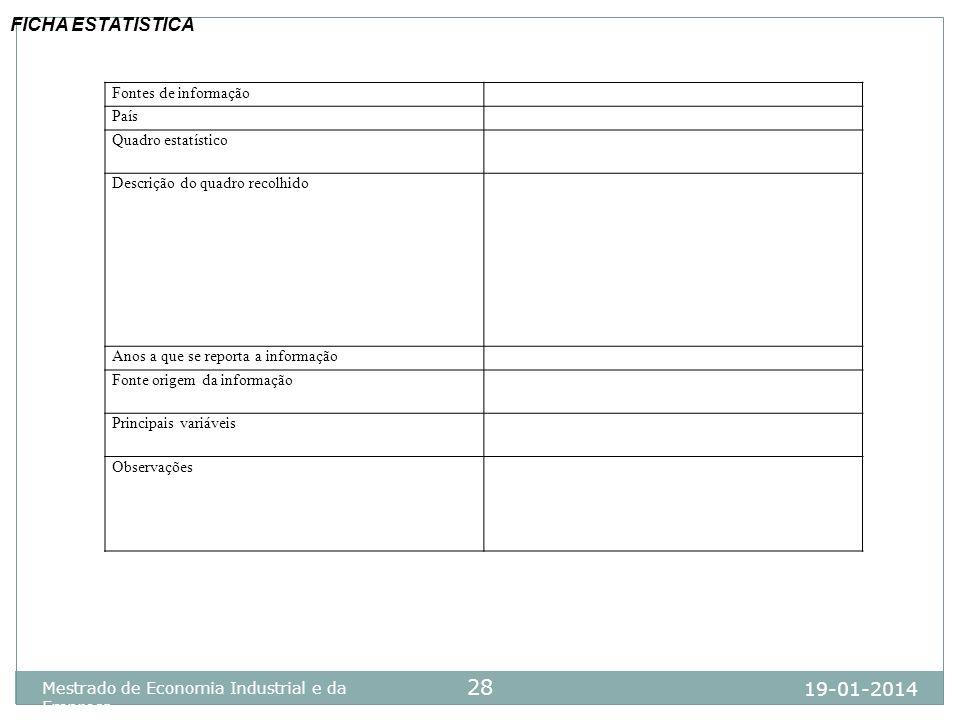 19-01-2014 Mestrado de Economia Industrial e da Empresa 28 Fontes de informação País Quadro estatístico Descrição do quadro recolhido Anos a que se re