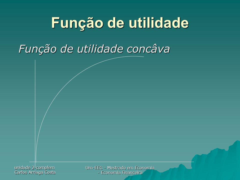 unidade 2-complem Carlos Arriaga Costa Um-EEG - Mestrado em Economia - Economia Financeira Função de utilidade Função de utilidade concâva