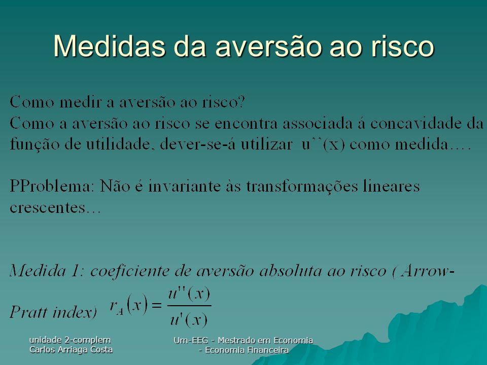unidade 2-complem Carlos Arriaga Costa Um-EEG - Mestrado em Economia - Economia Financeira Medidas da aversão ao risco