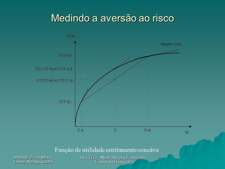 unidade 2-complem Carlos Arriaga Costa Um-EEG - Mestrado em Economia - Economia Financeira Medindo a aversão ao risco Função de utilidade estritamente