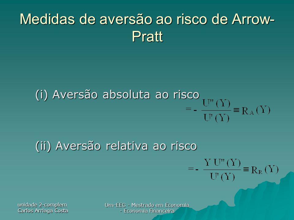 unidade 2-complem Carlos Arriaga Costa Um-EEG - Mestrado em Economia - Economia Financeira Medidas de aversão ao risco de Arrow- Pratt (i) Aversão abs