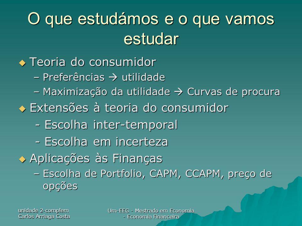 unidade 2-complem Carlos Arriaga Costa Um-EEG - Mestrado em Economia - Economia Financeira O que estudámos e o que vamos estudar Teoria do consumidor