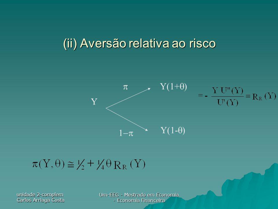 unidade 2-complem Carlos Arriaga Costa Um-EEG - Mestrado em Economia - Economia Financeira (ii) Aversão relativa ao risco Y Y(1+ ) Y(1- )