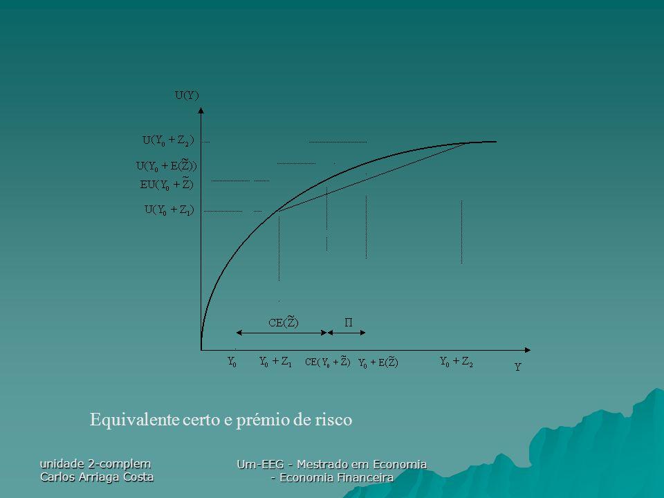 unidade 2-complem Carlos Arriaga Costa Um-EEG - Mestrado em Economia - Economia Financeira Equivalente certo e prémio de risco