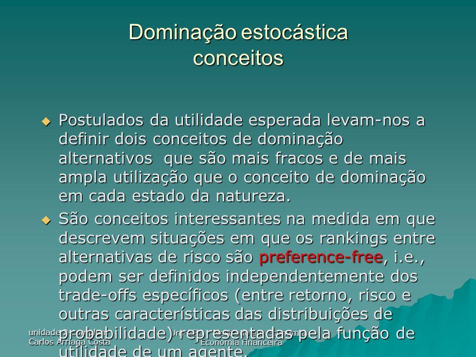 unidade 2-complem Carlos Arriaga Costa Um-EEG - Mestrado em Economia - Economia Financeira Dominação estocástica conceitos Postulados da utilidade esp