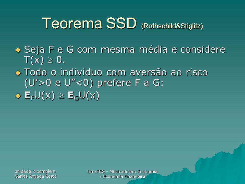 unidade 2-complem Carlos Arriaga Costa Um-EEG - Mestrado em Economia - Economia Financeira Teorema SSD (Rothschild&Stiglitz) Seja F e G com mesma médi