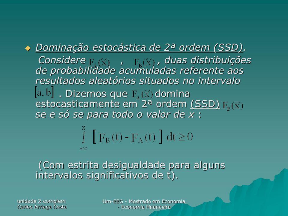 unidade 2-complem Carlos Arriaga Costa Um-EEG - Mestrado em Economia - Economia Financeira Dominação estocástica de 2ª ordem (SSD). Dominação estocást