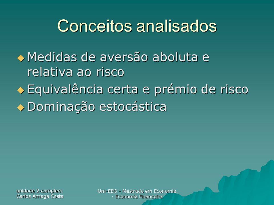 unidade 2-complem Carlos Arriaga Costa Um-EEG - Mestrado em Economia - Economia Financeira Conceitos analisados Medidas de aversão aboluta e relativa