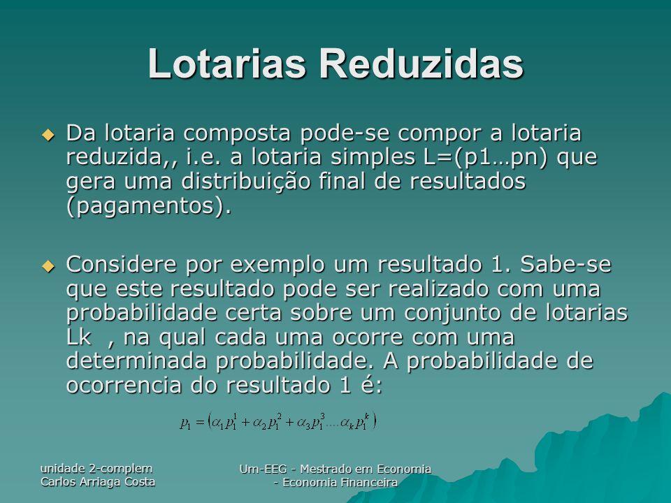 unidade 2-complem Carlos Arriaga Costa Um-EEG - Mestrado em Economia - Economia Financeira Lotarias Reduzidas Da lotaria composta pode-se compor a lot
