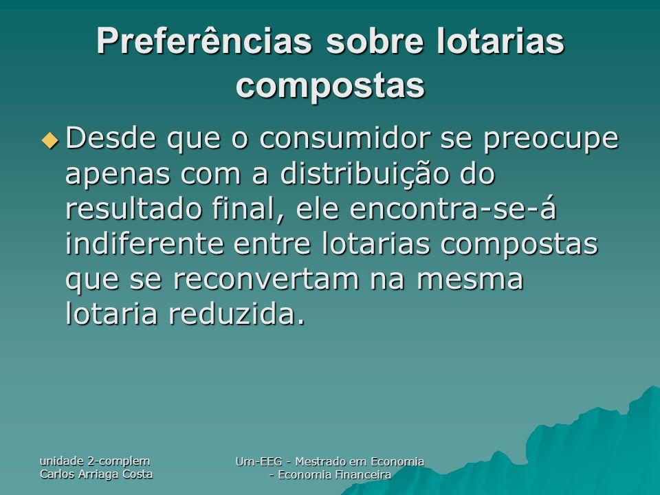 unidade 2-complem Carlos Arriaga Costa Um-EEG - Mestrado em Economia - Economia Financeira Preferências sobre lotarias compostas Desde que o consumido