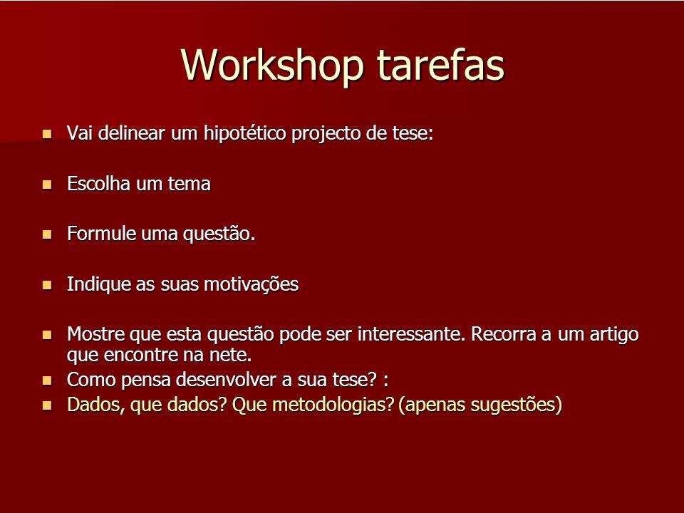 Workshop tarefas Vai delinear um hipotético projecto de tese: Vai delinear um hipotético projecto de tese: Escolha um tema Escolha um tema Formule uma