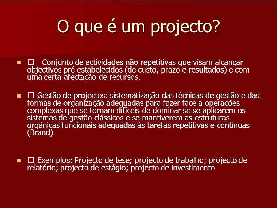 O que é um projecto? Conjunto de actividades não repetitivas que visam alcançar objectivos pré estabelecidos (de custo, prazo e resultados) e com uma