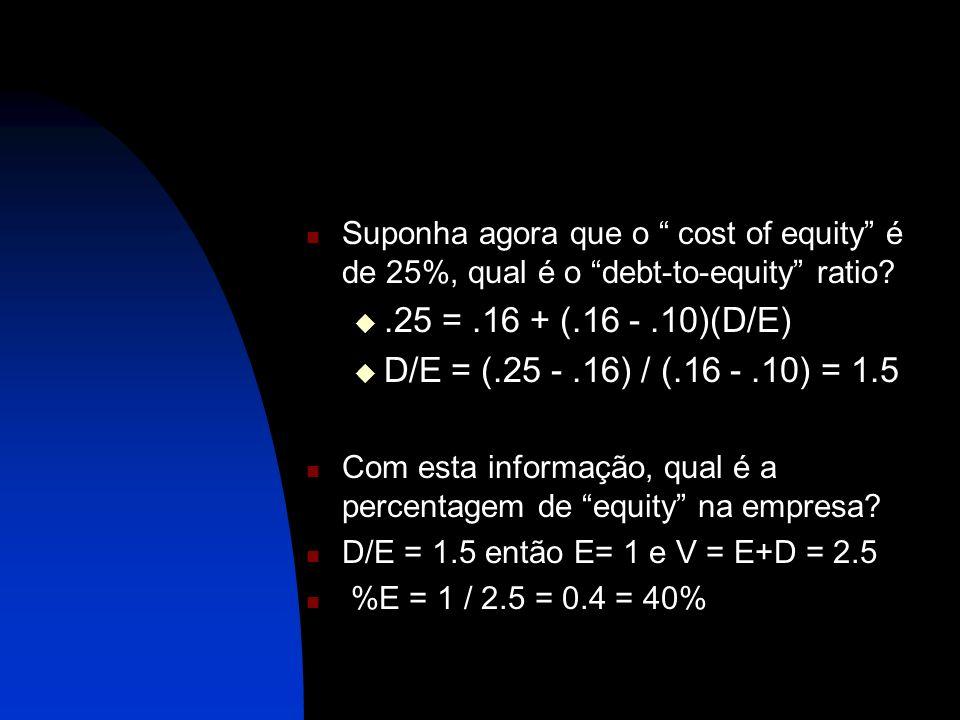 Suponha agora que o cost of equity é de 25%, qual é o debt-to-equity ratio?.25 =.16 + (.16 -.10)(D/E) D/E = (.25 -.16) / (.16 -.10) = 1.5 Com esta inf
