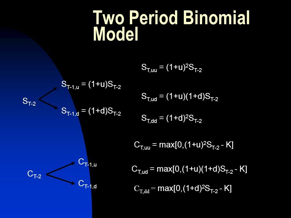 Two Period Binomial Model S T,dd = (1+d) 2 S T-2 S T,uu = (1+u) 2 S T-2 S T-1,u = (1+u)S T-2 S T,ud = (1+u)(1+d)S T-2 S T-1,d = (1+d)S T-2 S T-2 C T,d