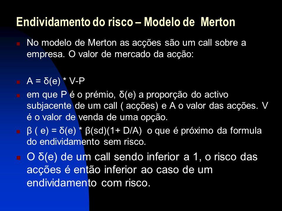 Endividamento do risco – Modelo de Merton No modelo de Merton as acções são um call sobre a empresa. O valor de mercado da acção: A = δ(e) * V-P em qu