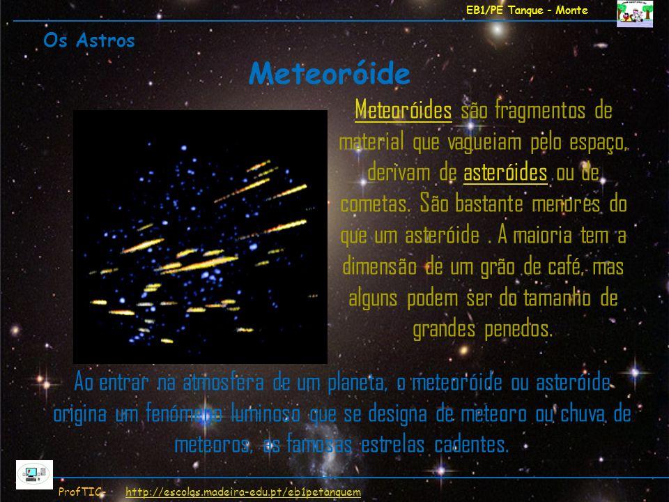 EB1/PE Tanque - Monte ProfTIC- http://escolas.madeira-edu.pt/eb1petanquemhttp://escolas.madeira-edu.pt/eb1petanquem MeteoróidesMeteoróides são fragmen