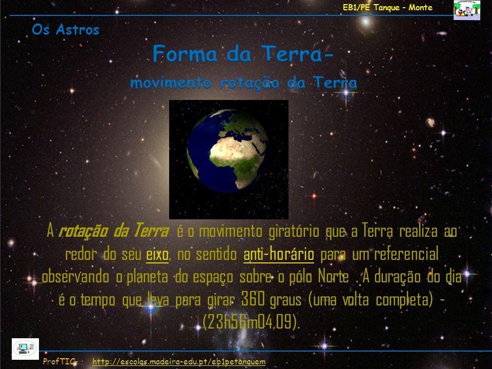 EB1/PE Tanque - Monte ProfTIC- http://escolas.madeira-edu.pt/eb1petanquemhttp://escolas.madeira-edu.pt/eb1petanquem A rotação da Terra é o movimento g