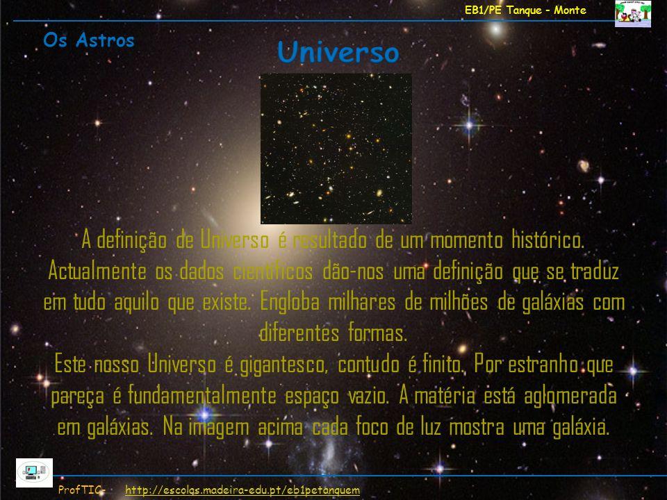 EB1/PE Tanque - Monte ProfTIC- http://escolas.madeira-edu.pt/eb1petanquemhttp://escolas.madeira-edu.pt/eb1petanquem A definição de Universo é resultad