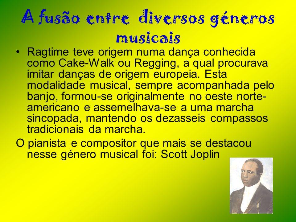 A fusão entre diversos géneros musicais Ragtime teve origem numa dança conhecida como Cake-Walk ou Regging, a qual procurava imitar danças de origem e