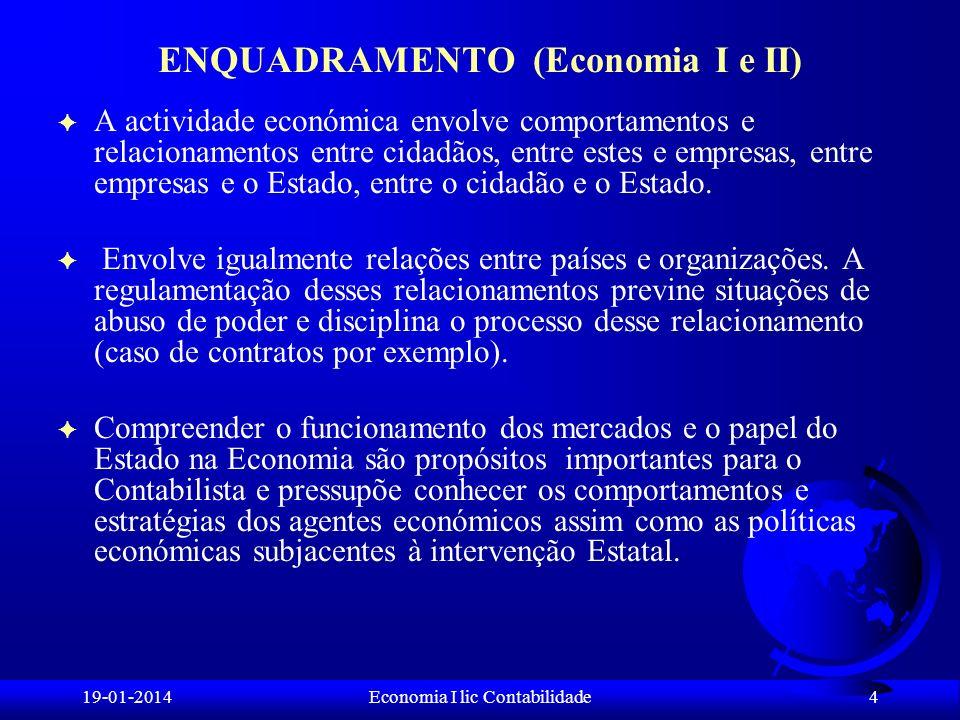 19-01-2014Economia I lic Contabilidade ENQUADRAMENTO (Economia I e II) F A actividade económica envolve comportamentos e relacionamentos entre cidadão